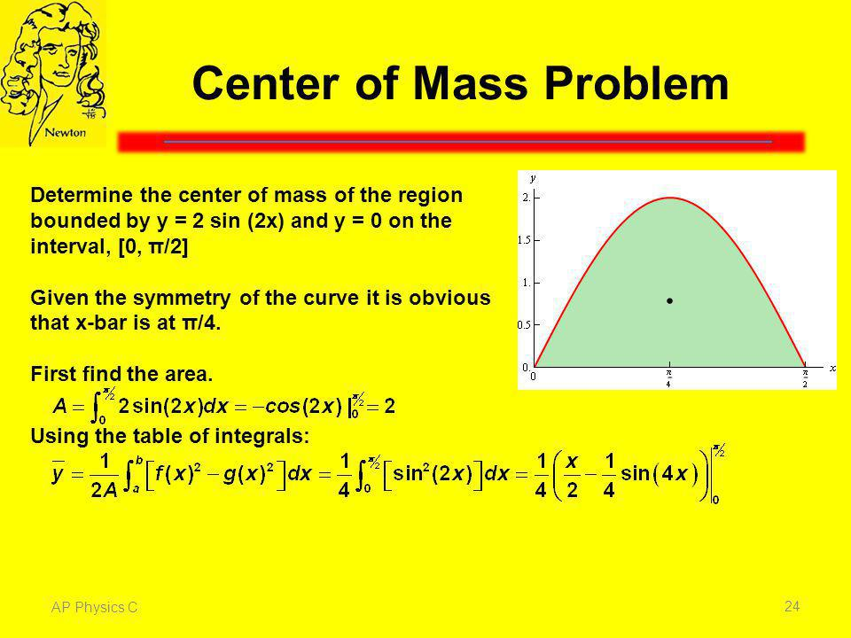 Center of Mass Problem Determine the center of mass of the region bounded by y = 2 sin (2x) and y = 0 on the interval, [0, π/2]